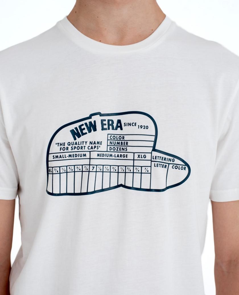 NEW ERA SIZE CHART WHITE TEE