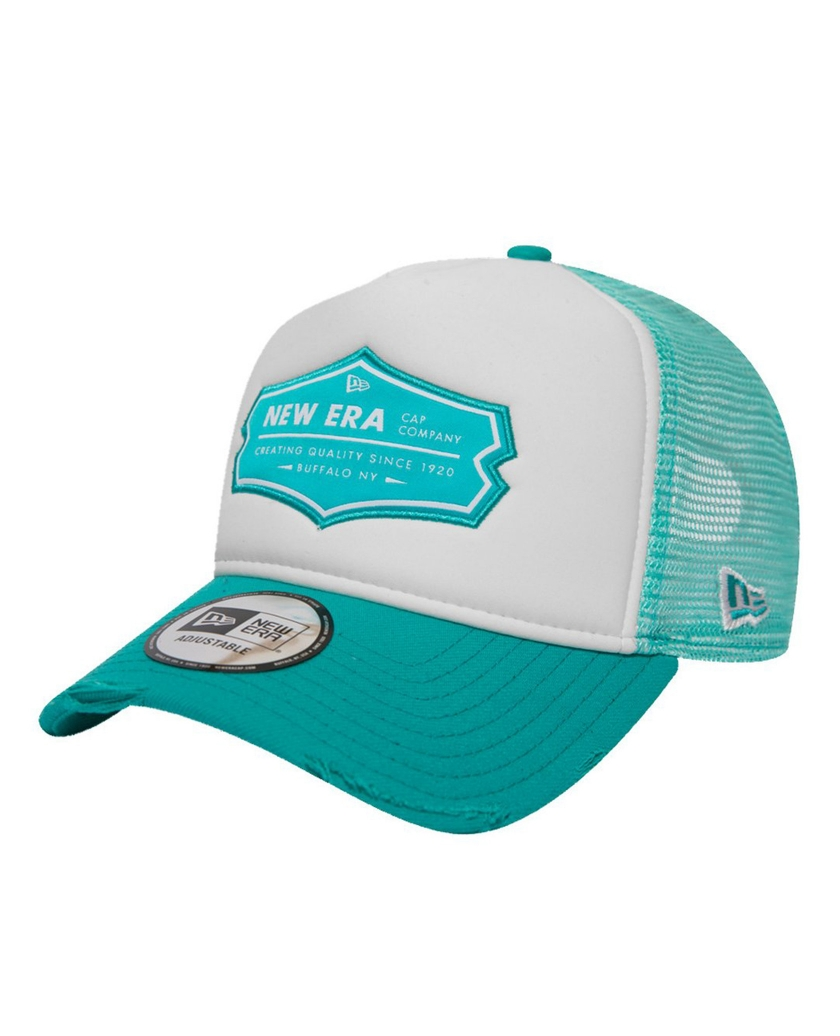 NEW ERA PATCH TRUCKER DISTRESSED TEAL
