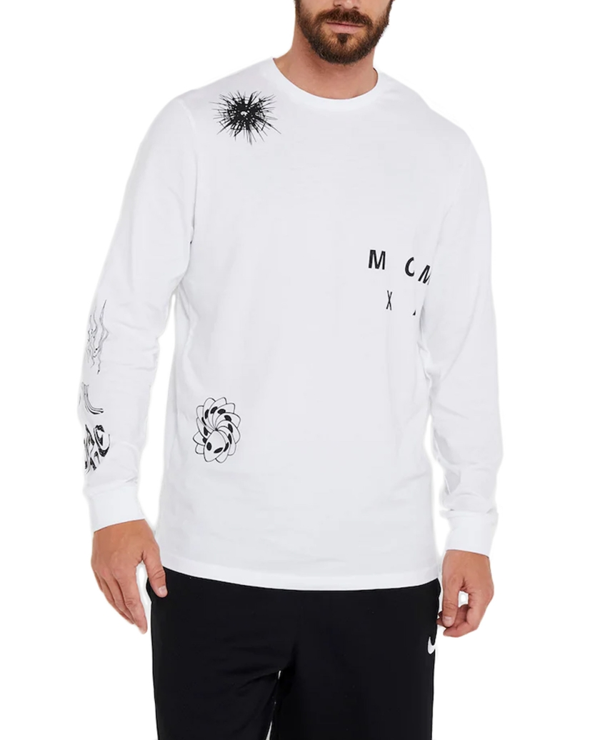NEW ERA BOOTLEG GRAPHIC WHITE LONG SLEEVE TEE