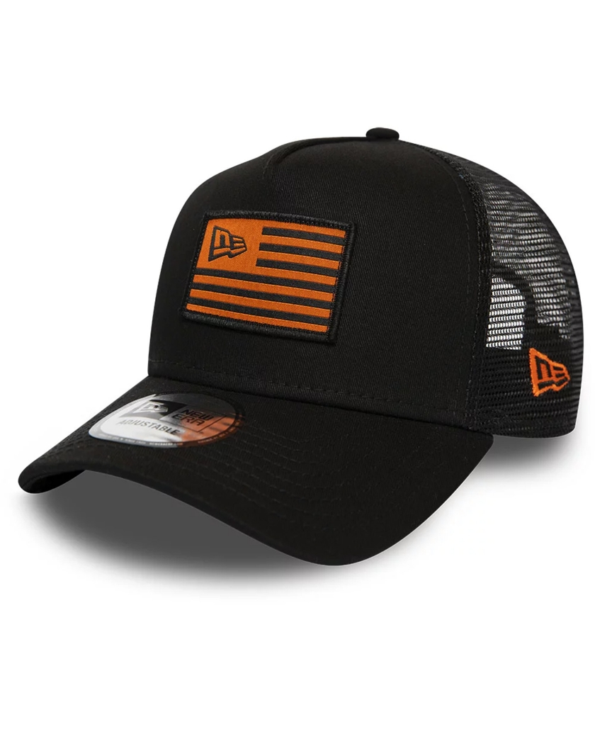 NEW ERA ORANGE FLAG BLACK TRUCKER CAP