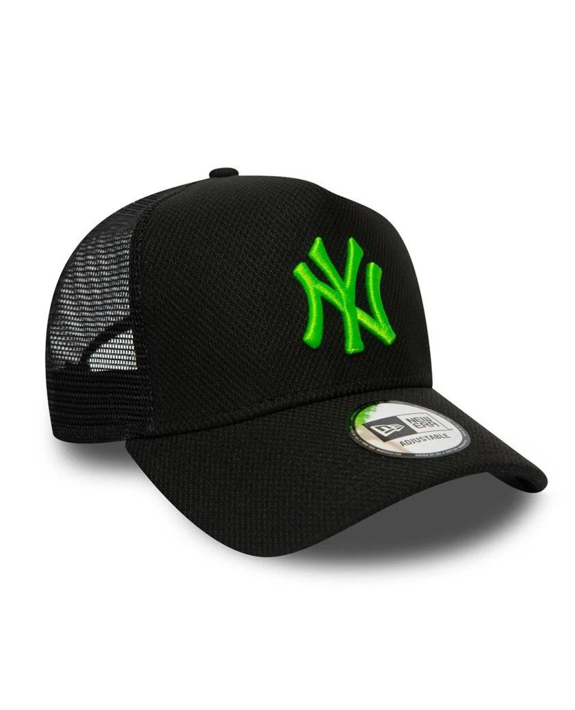 NEW YORK YANKEES DIAMOND ERA NEON GREEN LOGO BLACK TRUCKER