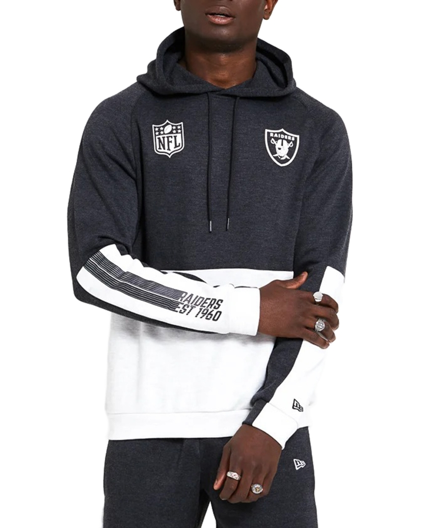 OAKLAND RAIDERS COLOUR BLOCK GREY HOODIE