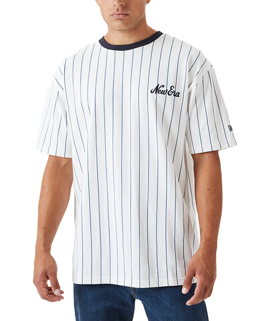NEW ERA PINSTRIPE OVERSIZED T-SHIRT NAVY