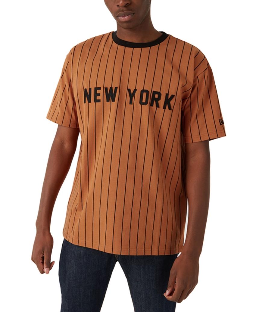 NEW ERA NEW YORK PINSTRIPE BROWN OVERSIZED T-SHIRT
