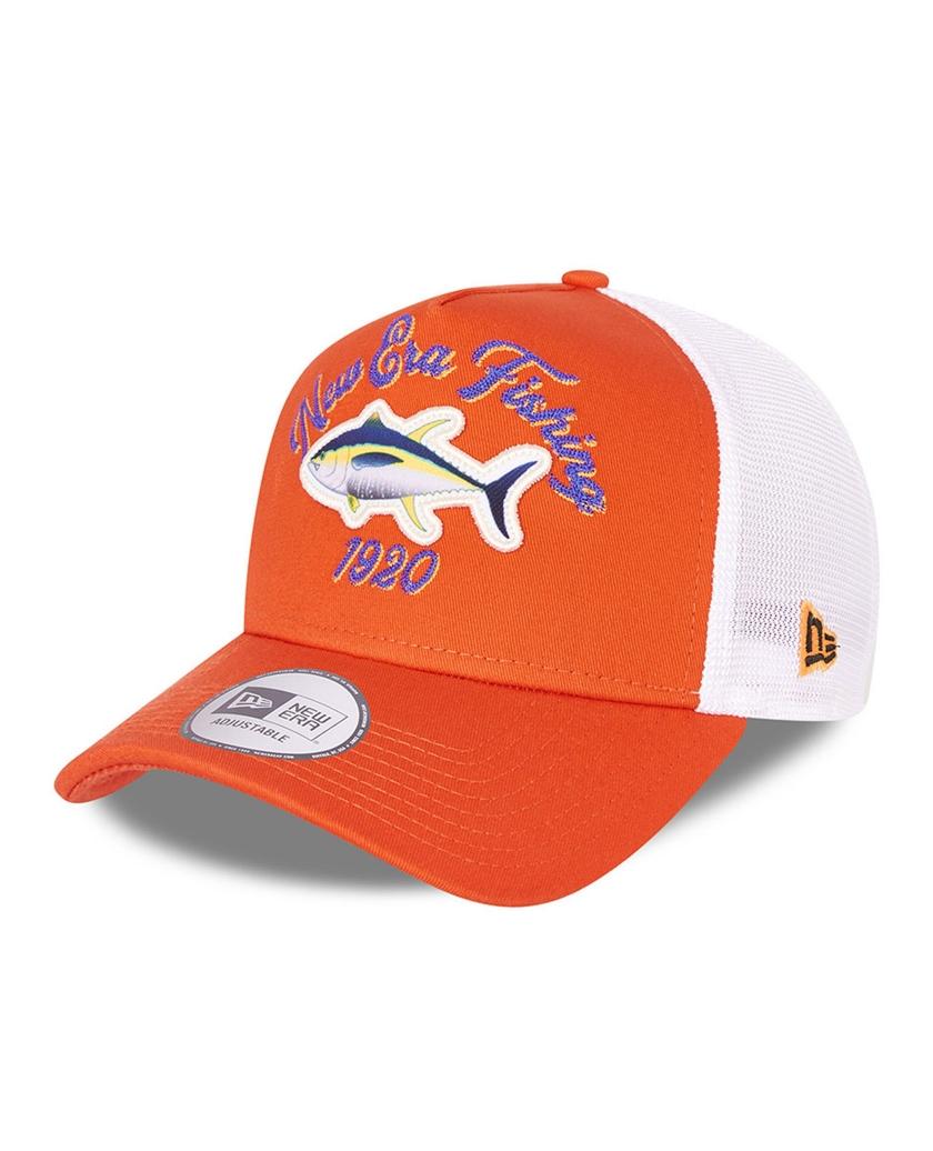 NEW ERA FISHING ORANGE A-FRAME TRUCKER CAP